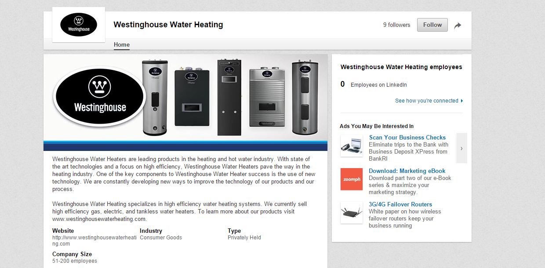 Westinghouse Water Heating is on LinkedIn